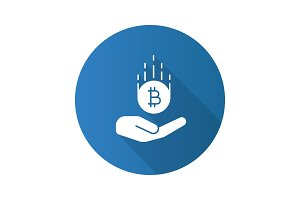 Open hand with bitcoin flat design long shadow glyph icon