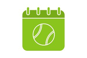 Tennis tournament date glyph color icon
