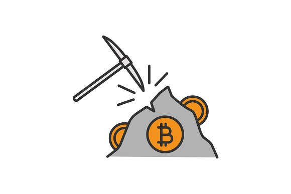 Navvy pick with bitcoin sign color icon