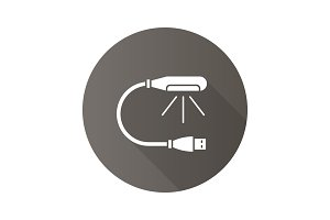 USB lamp flat design long shadow glyph icon
