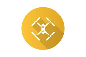 Quadcopter flat design long shadow glyph icon
