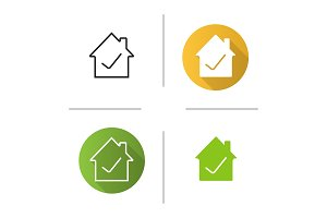 Checked, approved house icon
