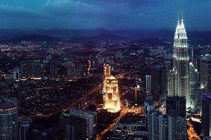 Kuala Lumpur skyline at the night