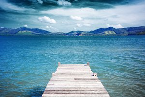 Wooden pier on the coast