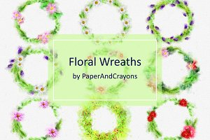 Floral Wreath Clip Art Set