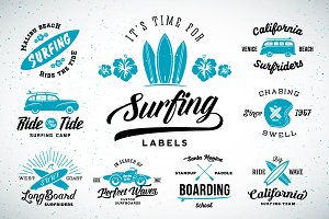 Vintage Surfing Labels/Logos Set
