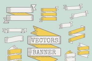 Collection Set of Ribbon Banner