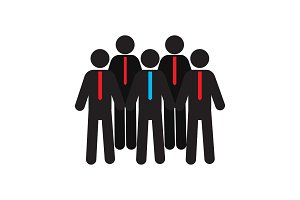 Group of people in ties silhouette icon