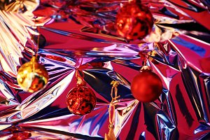 Christmas balls hanging from ceiling