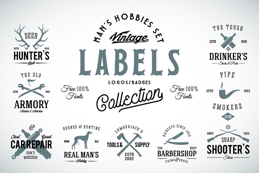 9 Vintage Labels for Men's Hobbies