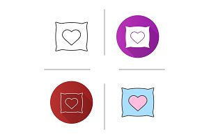 Square pillow with heart shape icon