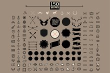 150 retro hipster icon and label set