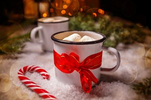 Enamel cup of hot cocoa