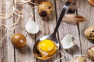 Unboiled quail eggs