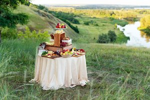 Buffet table with cheeses and fruits