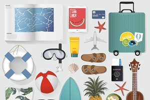 Summer Stuff Set Collection Vector