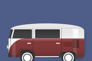 Red Van Car Vehicle Travel Graphic