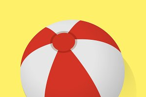 Red and White Beach Ball Vector