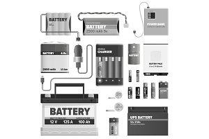 Black and White Powerful Batteries Collection