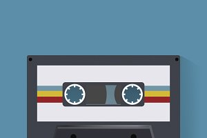 Retro Cassette Tape Music Record