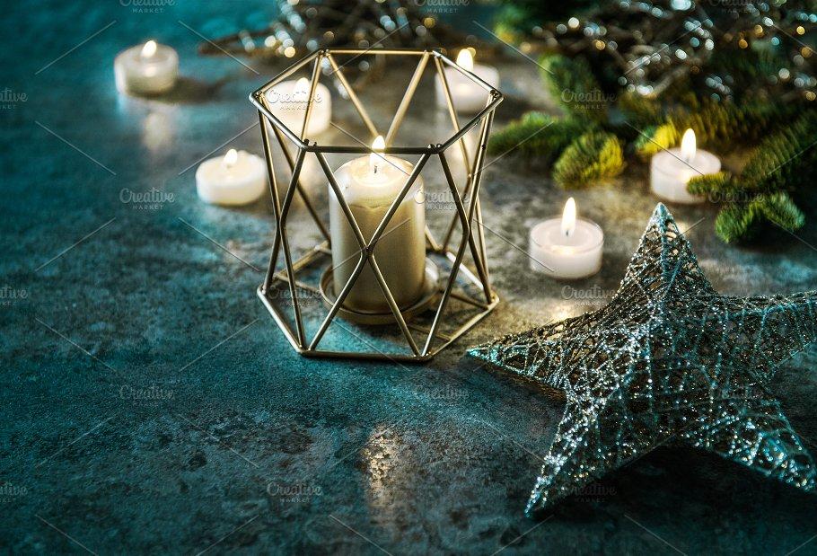 candles and stars christmas lights holidays