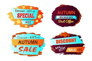 Autumn Big Sale Best Offer Vector Illustration