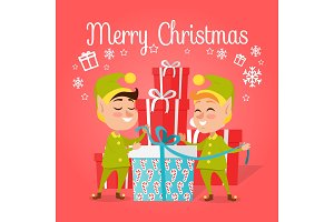 Two Happy Elves with Present on White Background