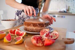 girls making a cake