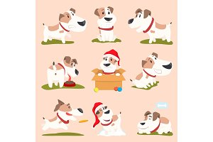 Closeup of Funny Poster Dogs Vector Illustration