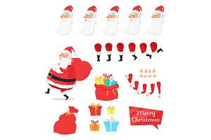 Christmas Set of Santa Claus Part Create Character