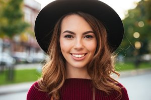 Close up portrait of a beautiful girl with brown hair