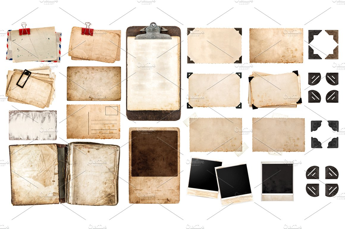Old paper sheets and photo frames ~ Objects ~ Creative Market