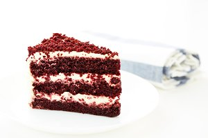 Red velvet cakes isolated on white b