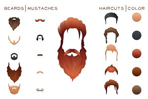 Beards&Mustaches&Hairstyles big set