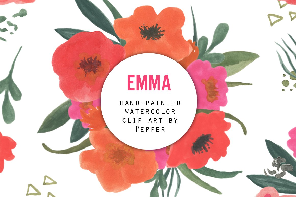 Watercolor Flower Clipart - Emma ~ Illustrations ~ Creative Market