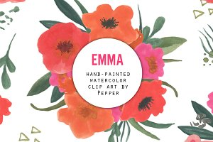 Watercolor Flower Clipart - Emma