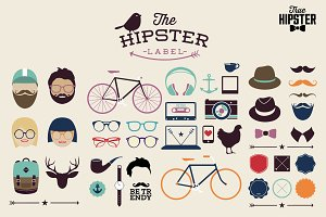 Hipster elements with retro icons
