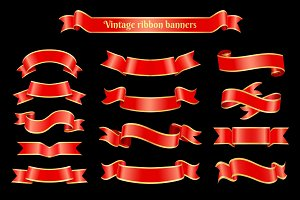 Vintage Ribbons Banner Set Vector Illustration