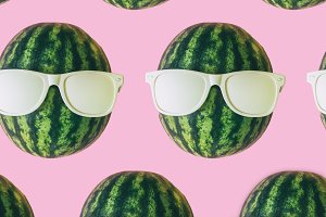 collage of watermelon heads