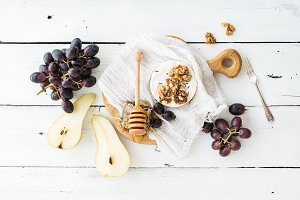Camembert cheese with grape