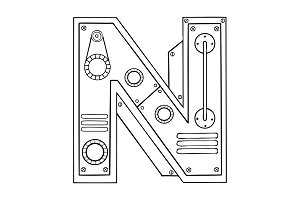 Mechanical letter N engraving vector illustration