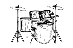 Drum set engraving vector illustration