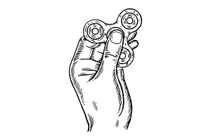 Spinner in hand engraving vector illustration