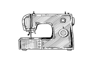 Sewing machine engraving vector illustration