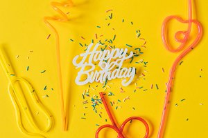 happy birthday on a yellow