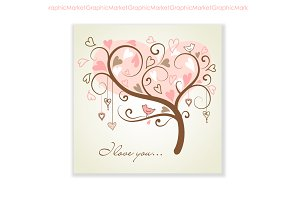Tree with hearts and a bird, Card