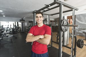 Posing man in gym