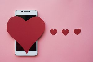 Valentine and smartphone. concept