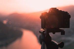 The camera on tripod