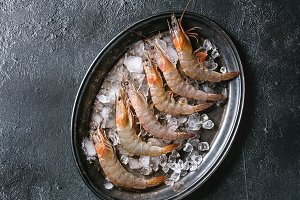 Raw uncooked prawns shrimps
